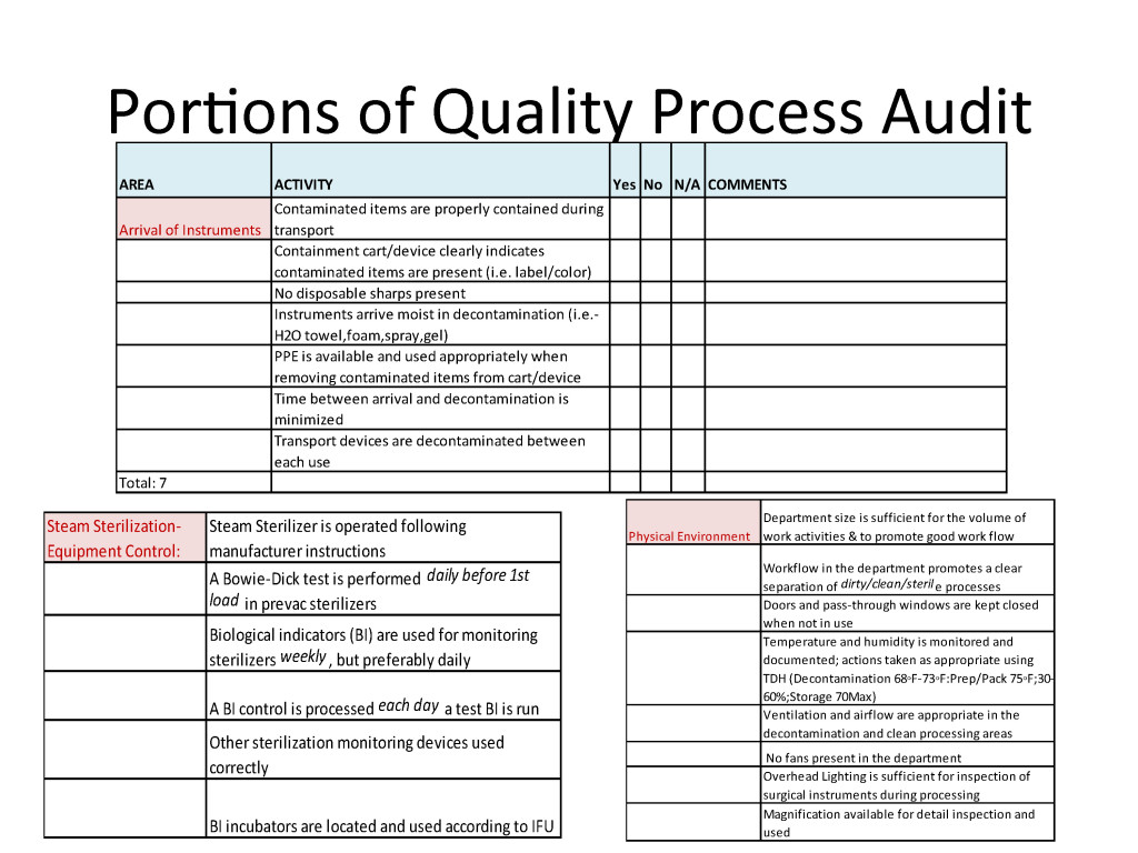 A sample of the 85-element quality process audit tool.